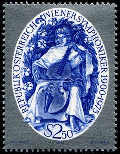 Here is an image of a stamp depicting a stylized musician playing a viol, designed by Otto Stefferl, combined engraved by Maria Magdalena Laurent and photogravure, and issued by Austria on October 30, 1975 to commemorate the 75th anniversary of the Vienna Symphony Orchestra, Scott No. 1025. Bonus: Bare feet.