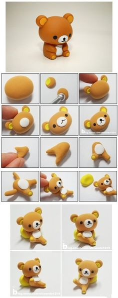 DIY fimo polymer clay teddy bear Rilakkuma - or for fondant Diy Fimo, Crea Fimo, Cute Polymer Clay, Polymer Clay Animals, Cute Clay, Fimo Clay, Polymer Clay Charms, Polymer Clay Projects, Polymer Clay Creations