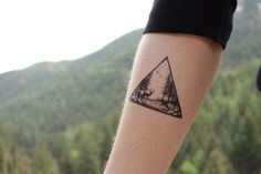 Deer In The Forest Triangle Scene Temporary Tattoo, Pine Trees and Birds In the Sky, Black Ink Nature Tattoo, #removetattoo