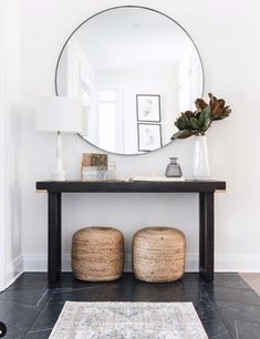 Welcoming entryway design by Ottawa Interior Design Firm Leclair Decor. Entryway Console from Ottawa furniture store LD Shoppe. Entryway Decor, Entryway Tables, Modern Entryway, Entryway Mirror, Entryway Ideas, Bench In Entryway, Hallway Decorating, Foyer, Wall Decor