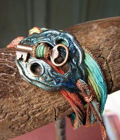 Escutcheon Wrap Bracelet in Blue Green Shimmer - Patina Copper Artisan Jewelry by Shannon LeVart