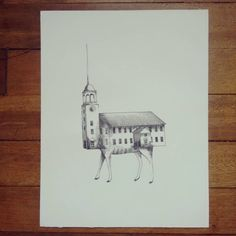 """ Experimento genético paranormal "" rapidógrafo sobre durex. #Himallineishon #church #drawing #art #illustration #weird"
