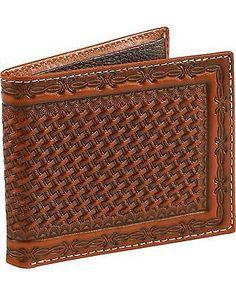 Cody James Men's Basketweave Embossed Wallet Brown One Size