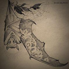 Victorian bat , designed for sternum placement. Dream Tattoos, Future Tattoos, Love Tattoos, Body Art Tattoos, Tatoos, Tattoo Sketches, Art Sketches, Bat Silhouette, Minimal Tattoo Design
