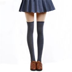 12.00$  Watch now - http://viequ.justgood.pw/vig/item.php?t=46ylt8258143 - 1 Pair 5 Solid Colors Fashion Sexy Warm Thigh High Over the Knee Socks Long Cotton Stockings For Girls Ladies Women