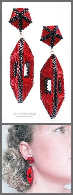 'Lantern' earrings in vivid red and glossy black glass beading. One of a kind statement earrings with silver post fittings. Lightweight and comfortable. 7.5cm x 1.75cm x 1.75cm    £95 #DaniCromptonDesigns www.dani-c.co.uk