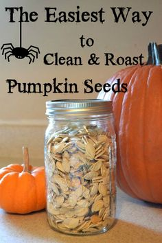 With every jack-o-lantern comes an excess of pumpkin seeds. Flour On My Face has easy instructions to clean and roast pumpkin seeds. It's a simple, tasty snack for the fall season! Roasted Pumpkin Seeds, Roast Pumpkin, Baked Pumpkin, Pumpkin Recipes, Fall Recipes, Holiday Recipes, Snack Recipes, Cooking Recipes, Pumkin Seeds