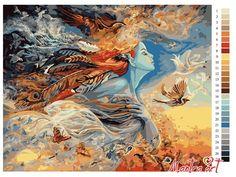 Картина по номерам, картины-раскраски, раскраска по номерам, paint by numbers, мантра, девушка, купить картину по номерам - Полет мечты, Мантра-Арт - Zvetnoe.ru - картины по номерам, раскраски по номерам