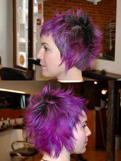 dark roots, purple hair