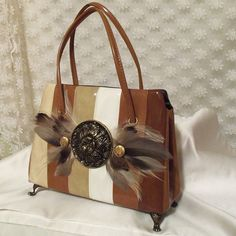 A vintage bag....Brown Stripe Purse Vintage couture in shades by HopscotchCouture, $167.00