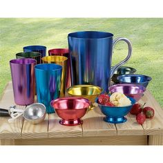 """""""Retro Chic,"""" but functional and practical. These Anodized Aluminum Tumblers, Bowls, and Pitcher shine with bright jewel colors to perk up your patio or picnic lunch!---reminds me of my childhood...I remember those cups"""