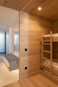 wooden wall interior bunk bed