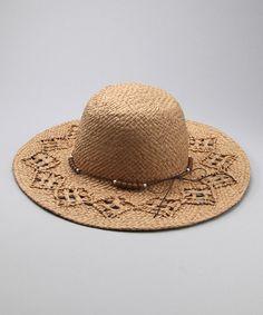 Natural Beaded Sunhat by Hat Box Fedoras & More