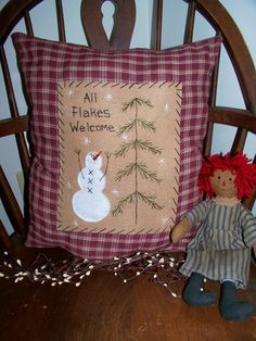 Primitive Stitchery SNOWMAN PILLOW Country Decor Rustic Accent Grungy Prim ALL FLAKES WELCOME Make Do Penny Rug Colonial Pillowcase Folk Art...