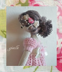 This gorgeous doll made from 100 percent cotton & 100 percent bamboo crochet thread in cream and Pink color by using very fine hook and high quality selected materials. Her name is Giselle, she likes to travel, play Piano and read romantic stories!. She is very unique little romantic Girl. Her body made from 100 percent , size 10 cotton crochet thread in cream color. ( full body )Her dress crocheted shell stitched design by using 100 percent bamboo, size 10 crochet thread in Pink color, B...