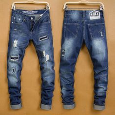 (39.00$)  Buy here  - Brand new waist popular logo in ripped jeans patch tide male jeans straight male male cultivate one's morality pants F025