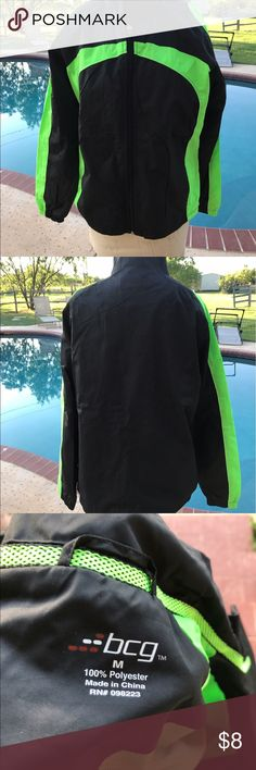 Wind jacket Black wind jacket with neon green stripes.  Matches pants previously posted. Medium BMG Jackets & Coats