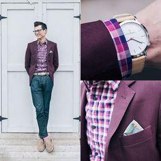 Thread Etiquette Watch, Gap Shirt, Indochino Blazer, Pocket Square Clothing The Fleur, Levi's® 511, Cole Haan Suede Shoes