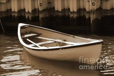 Cambridge Row Boat in Sepia at Cambridge Marina, Maryland, by Francie Davis