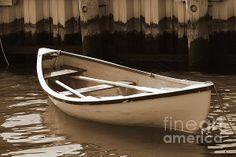 Cambridge Row Boat in Sepia at Cambridge Marina, Maryland, by Francie Davis