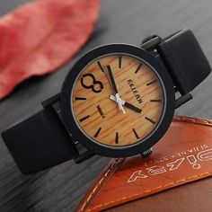 Eco Faux Wooden Dail Leather Band Watches for Men and Women Casual Design Black - Wristwatches