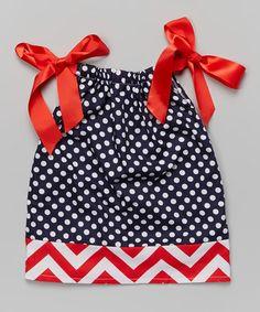 Look at this #zulilyfind! Red & Blue Polka Dot Tie Dress - Toddler & Girls by Miss Fancy Pants #zulilyfinds
