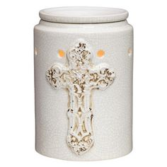 Step into a centuries-old cathedral with this enduring symbol of hope, displayed upon a white crackle finish.