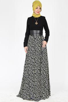 Nilüfer Kamacıoğlu Krem Deri Kemerli Mozaik Elbise