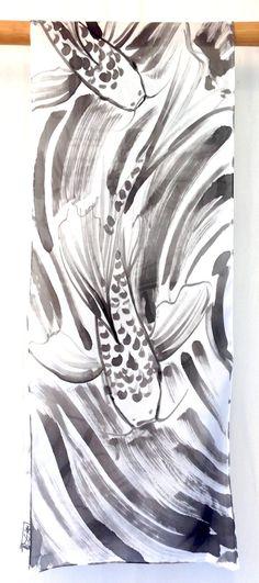 Japanese Koi Scarf Hand Painted Black and by SilkScarvesTakuyo
