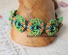 Sage Green Hydrangeas Beaded Macrame Bracelet  by KnotJustMacrame