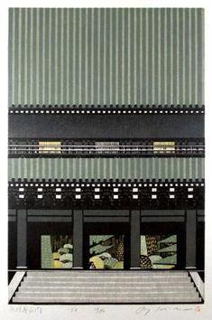 Morimura Ray by DeAngelis Japanese Art Modern, Japanese Design, Japanese Textiles, Japanese Prints, Japan Painting, Japanese Illustration, Landscape Drawings, Print Artist, Woodblock Print