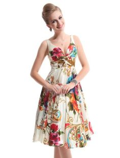 Ever Pretty Double V-neck Floral Printed Satin Short NWT Party Dress 03381