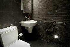 Modern black bathroom. Love. Female bathroom: pink gray and black decor. Male: gray, black, dark blue decor.