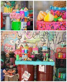 Graffiti themed birthday party via    Party Ideas | KarasPartyIdeas.com (1)