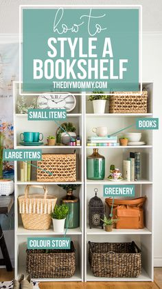 Great steps & tips on how to style a bookshelf! bookshelf decor 5 Steps to Styling a Beautiful Bookshelf Kitchen Bookshelf, Small Bookshelf, Wall Bookshelves, Bookshelf Design, Bookcases, Bookshelf Ideas, Bookshelf Speakers, Book Shelves, Bookshelf Makeover