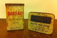 2 Vintage Tins  Band Aid & Sucrets  Wonderful Storage by Dust2Den, $15.00