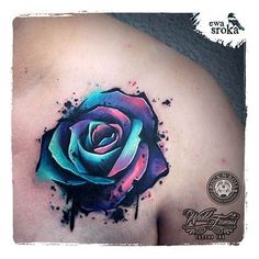This Rose tattoo is an absolute gorgeous piece of art! --- Unique Rose Tattoo by Ewa Sroka – Warsaw, Poland Herz Tattoo, Diy Tattoo, Cover Tattoo, Piercing Tattoo, Get A Tattoo, Bicep Tattoo, Tie Dye Tattoo, Chest Tattoo Cover Up, Pretty Tattoos