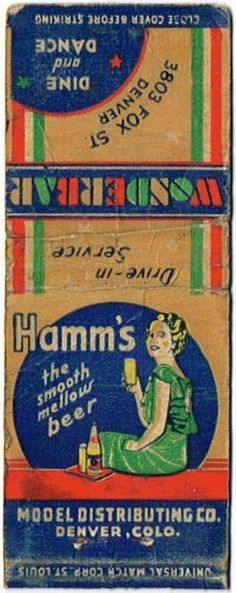 Matchcovers Hamm's Beer  Theo. Hamm Brewing Co. (Post Prohibition) Saint Paul Minnesota United States of America
