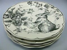 Cabbage Roses, Blue And White China, Grey Glass, Salad Plates, Tea Sets, Bunny Rabbit, Spring Flowers, Easter Bunny, Flower Designs