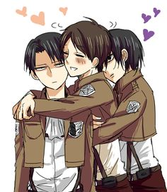 mikasa toda ignorada, y la cara de levi no me engaña, esta feliz por el abrazo de eren