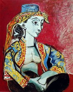 Jacqueline In Turkish Costume   -   Pablo Picasso , 1955   Spanish, 1881-1973  Oil on canvas,