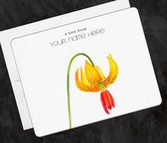 Personalized Stationery Lily Yellow Flower, Greeting Note Cards - Set of 10 by OlivineStationery on Etsy