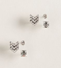 AEO rhinestone earring stud trio. Earring ideas for all those piercings! Chevron in 1st holes, square studs in 2nd and simple stud in cartilage