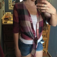 Sheer Plaid Tie Shirt Sheer plaid tie shirt! ✨ Worn once. Has cute little tie in front that can be tied into a bow or left undone! Perfect for a swim cover or just to wear with a good pair of jeans  No stains or tears! Send me offers  a'gaci Tops Button Down Shirts