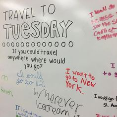 """If you could travel anywhere, where would you go?"" wherever ice cream is 💁🏼🍦 I like you kid! ______ Love these random whiteboard messages! I bought the pack from yesterday, projected it on my screen today, and traced it onto my board ✌🏻️ Morning Activities, Listening Activities, Morning Board, Daily Writing Prompts, Leadership, Bell Work, Responsive Classroom, Thinking Day, Morning Messages"