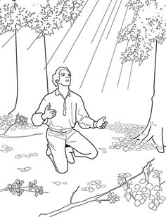 an illustration of joseph smith kneeling praying and looking up at a pillar of