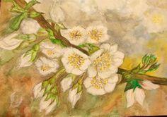 FLOR DE CEREZAS BLANCAS Painting, Art, Flower, Water Colors, Paintings, Cherries, Art Background, Painting Art, Kunst