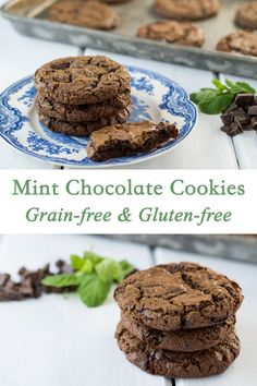 These Grain Free Mint Chocolate Cookies are Nut Free, and Gluten Free. They are made with paleo-friendly tapioca flour, and coconut flour. They have a wonderful crispy outside and a chewy middle.