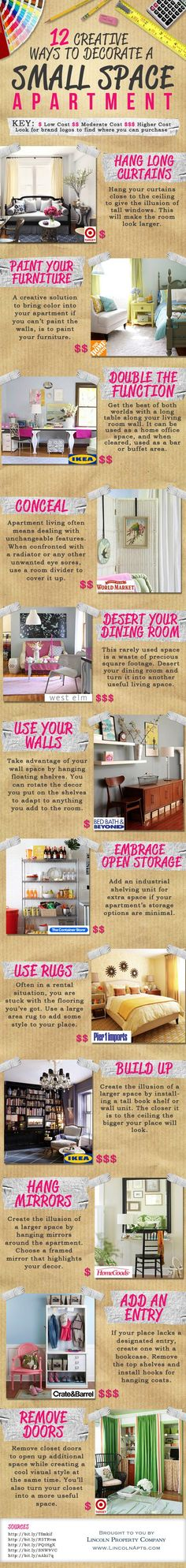 Here are another 12 Ways To Decorate A Small Space Apartment which will cost you hardly anything and will get you some really nice decor, furnishings, and very functional space. Who ever said small spaces are not as good as big spaces think again. Don't forget to transform that bookcase into a closet.
