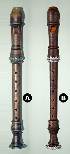 'A' is the original Engelbert Terton (1676-1752) Soprano recorder in Den Haag, and 'B' is a gorgeous reproduction created by Joachim Rohmer, Celle, right down to the facsimile makers marks. You can see more of his wonderful work here: http://www.rohmer-recorders.de/